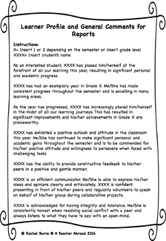 Learner Profile And General Comments For Report Cards By A