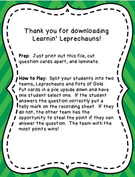 Learnin' Leprechauns Review Game