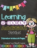 Learning 2-Digit Addition Freebie!  Interactive Notebook Pages & Game