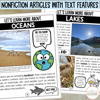 Learning About Landforms  {Differentiated Materials for Grades1-2}