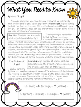 """""""Learning About Light"""" Science Journal - Light, Colors of the Rainbow, Photons"""