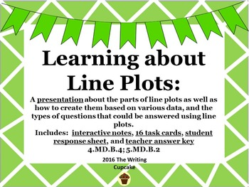 Learning About Line Plots (lessons, interactive notes, task cards, etc.)