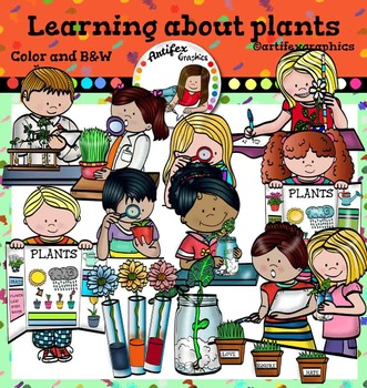 Learning About Plants clip art.  Color and B&W