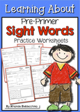 Learning About Sight Words ~ Practice Worksheets {Pre Primer}