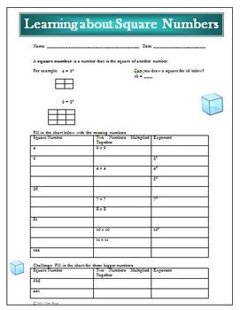 Learning About Square Numbers Activity