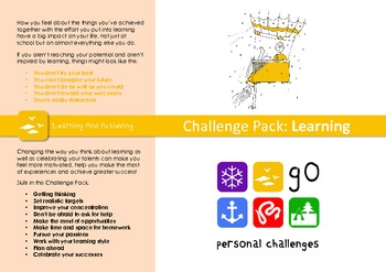 Learning Challenge Pack - targets, posters & worksheets fo
