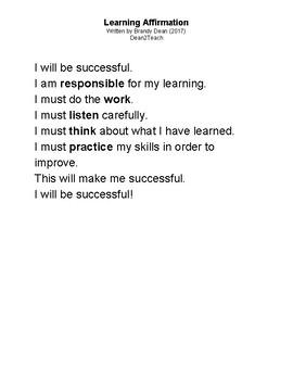 Learning Affirmation