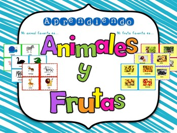 Learning Animals and Fruits in English and Spanish! Bundle