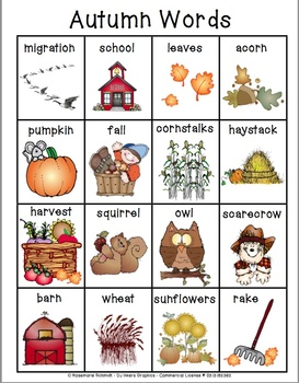 Learning Autumn Words K-4
