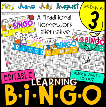 Monthly Learning BINGOs: Volume 3 (May, June, July, August)