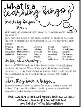 Learning BINGO Bundle: January, February, March