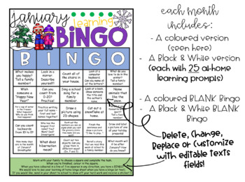 Monthly Learning BINGOs: VOLUME 2 (Jan, Feb, March, April)