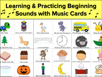 Learning Beginning Sounds With Music and Picture Cards, Speech Therapy