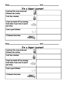 Learning Behaviors: Behavior Management: Charts, Poem, Lessons