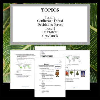 Learning Biomes: Worksheet, Test or Review Sheet