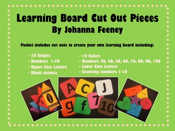 Learning Board Cutouts and Counting Numbers Mats