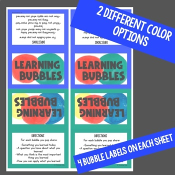 Learning Bubbles- Exit Tickets