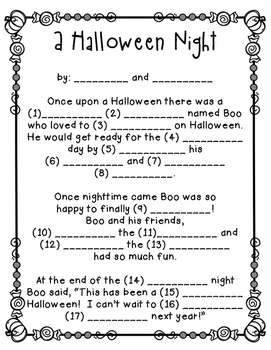Learning Buddies: Halloween Fill In The Blank Activity