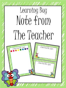 Learning Bug Theme Note from the Teacher
