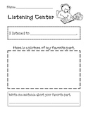 Learning Center Activity Sheets
