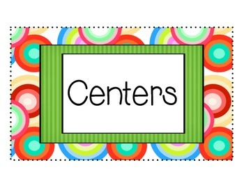 Learning Center Cards