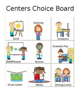"""Learning Center Choice Board / center signs and """"I Want"""" PECS card"""