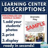 Learning Center Descriptions w/ Photos: Play, Blocks & Puzzle Centers (EDITABLE)