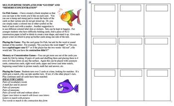 Learning Center Go Fish Memory - Multi-Purpose