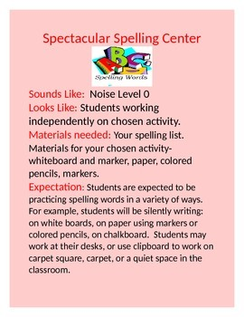 Learning Center Posters- Looks Like, Sounds Like Expectations