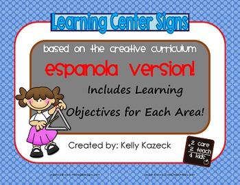 Learning Center Signs ~ In Espanola ~ Based on the Creative Curriculum