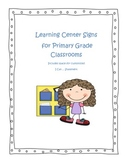 Learning Center Signs for Primary Classroom with I Can Statement