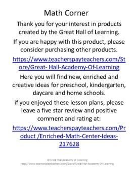 Enriched Math Center Ideas