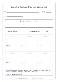 Learning Centers Planning Worksheet