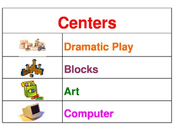 Learning Centers - Pocket Chart Center Signs With Pictures