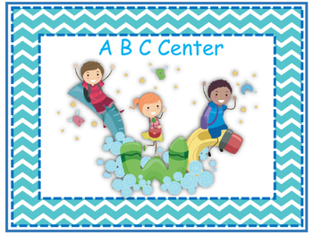 Learning Centers Signs - Blue Chevron Theme