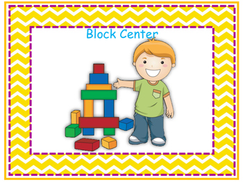 Learning Centers Signs - Yellow Chevron Theme