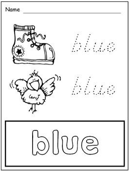 Color Words Activities for Kindergarten * Songs * Matching * Chart Cards