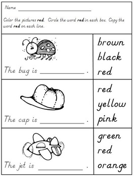 Color Words in Kindergarten Freebie