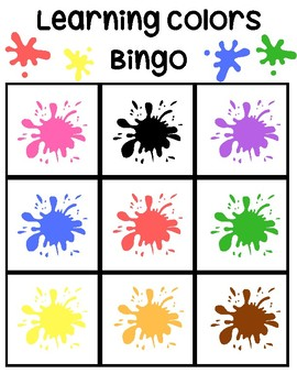 learning colors bingo game by my home based life tpt. Black Bedroom Furniture Sets. Home Design Ideas