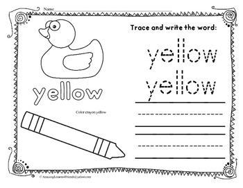 Learning Colors Trace and Writing Worksheets