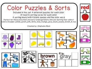 Colors - learning with puzzles, picture cards, & sorting boards