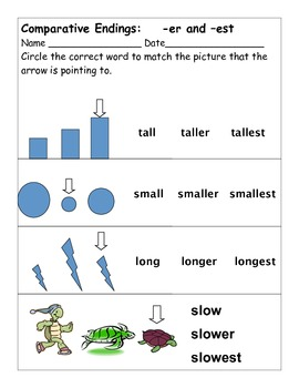 Learning Comparative Endings -er and -est by EducPrek12 | TpT