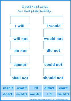 Learning Contractions: A Cut and Paste Activity Sheet (Worksheet 1)