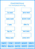 Learning Contractions: A Cut and Paste Activity Sheet (Worksheet 2)