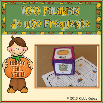 "Learning Cube inserts "" 100 Palabras de Uso Frecuente-Fall"""
