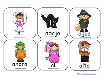 """Learning Cube inserts """" 100 Palabras de Uso Frecuente-Halloween"""""""