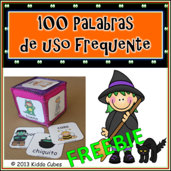 "Learning Cube inserts "" 100 Palabras de Uso Frecuente-Halloween"""