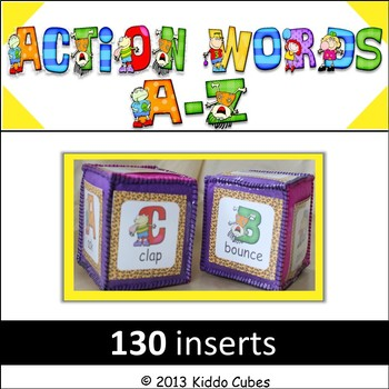 "Learning Cube inserts  ""Action Words A-Z"""