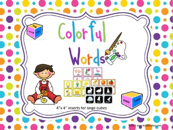 """Learning Cube inserts """"Colorful Words"""""""