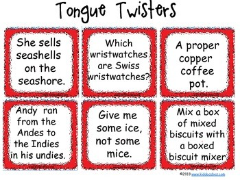 Learning Cube inserts Tongue Twisters